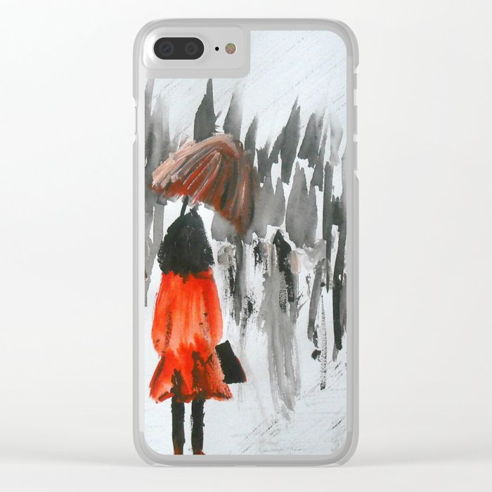 The Girl In The Red Rain Coat (Part 3)  Fine Art Acrylic Painting Clear iPhone Case