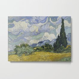 Wheatfield with Cypresses Metal Print