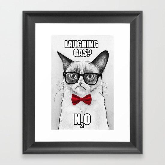 Grumpy Chemistry Cat Geek Science Meme Whimsical Animals in Glasses Framed Art Print