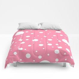 Mixed Polka Dots - White on Flamingo Pink Comforters