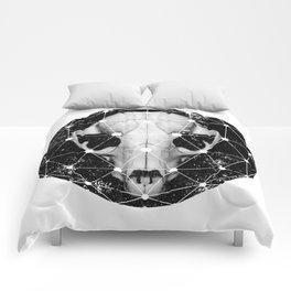 geometric raccoon skull Comforters