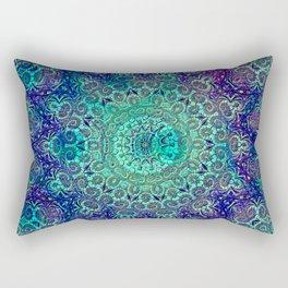 Aqua and Violet Mandala Lace Rectangular Pillow
