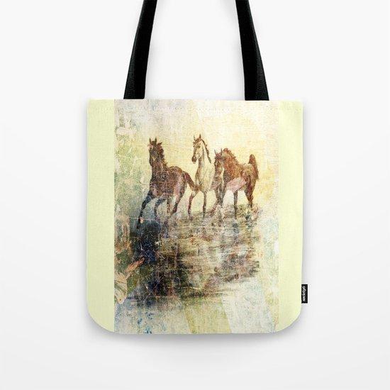 Vintage Horses Colours Tote Bag