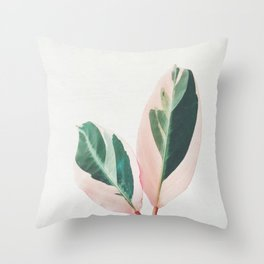 Pink Leaves I Throw Pillow