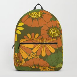 Orange, Brown, Yellow and Green Retro Daisy Pattern Backpack