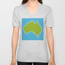 map of Australia Continent and blue Indian Ocean. Vector illustration Unisex V-Neck