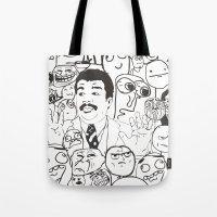 meme Tote Bags featuring Meme P&B by neicosta