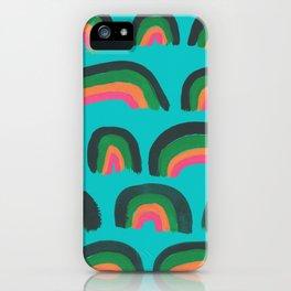 Cheery Hand Painted Rainbows (Aqua, Green, Orange, Pink) iPhone Case
