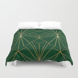 Art Deco in Gold & Green - Large Scale Duvet Cover
