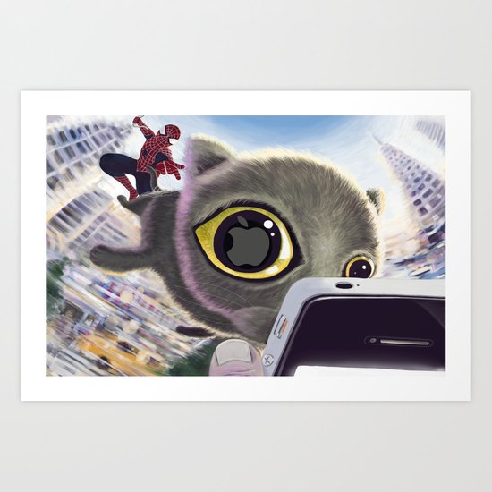 Falling Cat & Hero Art Print