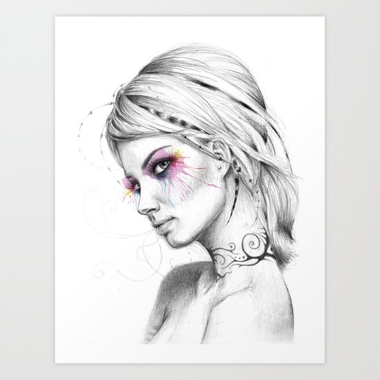 Beautiful Girl with Tattoos and Colorful Eyes Art Print