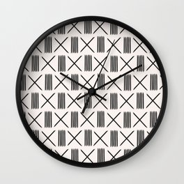 Mudcloth xs and lines on ivory Wall Clock