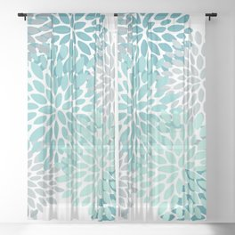 Floral Pattern, Aqua, Teal, Turquoise and Gray Sheer Curtain