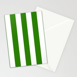 Napier green - solid color - white vertical lines pattern Stationery Cards