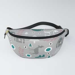 Deer and winter clothing Fanny Pack
