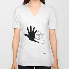 Rabbit Hand Shadow Unisex V-Neck