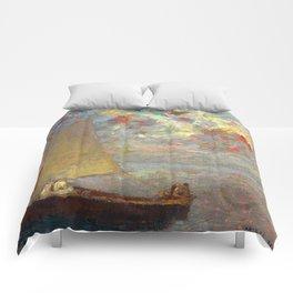 """Odilon Redon """"La Barque Aux Deux Femmes Blanches"""" Comforters"""
