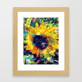 Sunflower Batik Framed Art Print