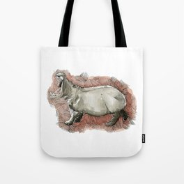 Watercolor Hippo Tote Bag
