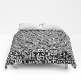 Black Concentric Circle Pattern Comforters