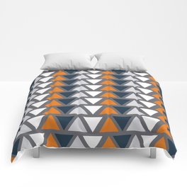 Abstract Triangle Blue Orange White Pattern Background Comforters