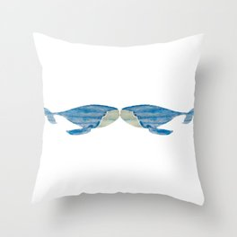 VINTAGE WHALE WATERCOLOR Throw Pillow