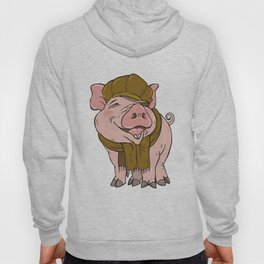 Pig in hat and scarf Hoody