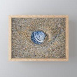 INDIGO COCKLE SHELL ON SAND Framed Mini Art Print
