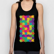 Colorful Jigsaw Puzzle Pattern Unisex Tank Top