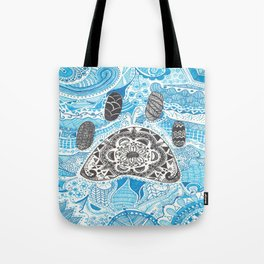 Zentangle Paw Print with Background Tote Bag