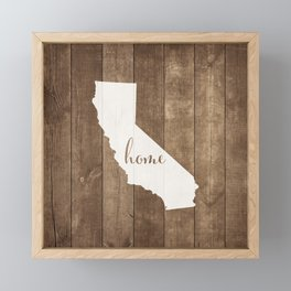 California is Home - White on Wood Framed Mini Art Print