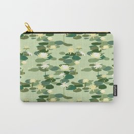 Waterlily pattern in Green Carry-All Pouch