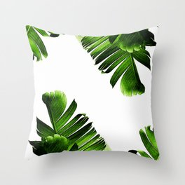Green banana leaf Throw Pillow