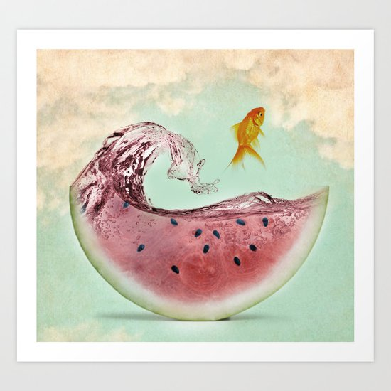 watermelon goldfish 02 Art Print