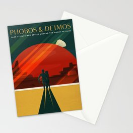 Vintage Adventure Travel Phobos and Deimos Stationery Cards