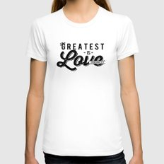 The Greatest is Love MEDIUM White Womens Fitted Tee