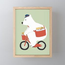 Polar bear postal express Framed Mini Art Print