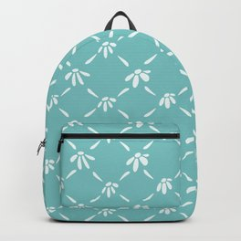 Floral Geometric Pattern Aqua Sky Backpack