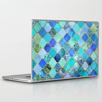 friend Laptop & iPad Skins featuring Cobalt Blue, Aqua & Gold Decorative Moroccan Tile Pattern by micklyn