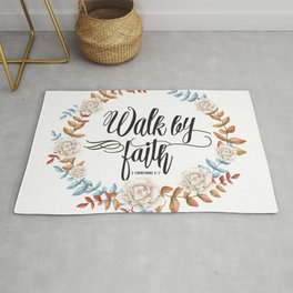 Christian Bible Verse Quote - Walk By Faith Rug