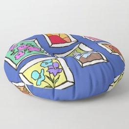 Art Wall - Blue, Frames Illustration  Floor Pillow