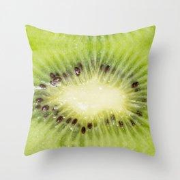 Fresh ripe green kiwi fruit macro Throw Pillow