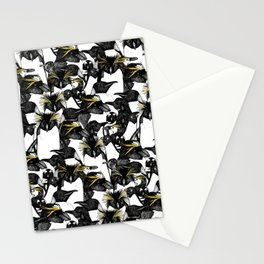 just penguins black white yellow Stationery Cards