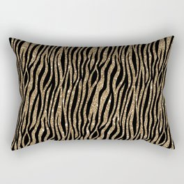 Black & Gold Glitter Animal Print Rectangular Pillow