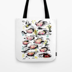 Swimming pigs Tote Bag