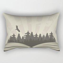 Dark forest in open book with raven Rectangular Pillow