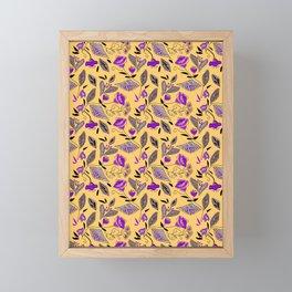 Flower yellow  purple Framed Mini Art Print