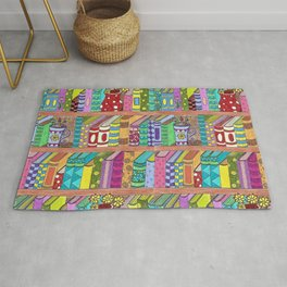 Colorful books on shelves Rug