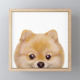 Pomeranian Dog illustration original painting print Framed Mini Art Print