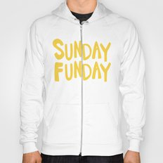Sunday Funday - yellow hand lettering Hoody